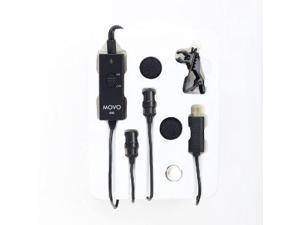 Movo GM2 Dual-Capsule Battery Powered Lavalier Lapel Clip-on Omnidirectional Condenser Microphone for GoPro HERO3, HERO3+ and HERO4 Black, White and Silver Editions