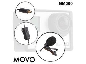 Movo GM300 Battery Powered Lavalier Lapel Clip-on Omnidirectional Condenser Microphone for GoPro HERO3, HERO3+ and HERO4 Black, White and Silver Editions (9-foot cord)