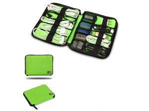 BUBM Green Cable Organizer Electronics Accessories Case USB Drive Shuttle