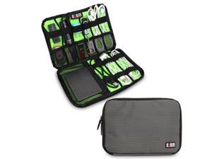 BUBM Large Gray Electronics Accessories Carry On Bag / Cable Organizer / USB Drive Shuttle / Hard Drive Case