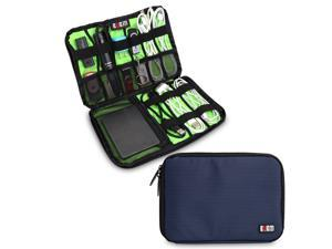 BUBM Large Dark Blue Electronics Accessories Carry On Bag / Cable Organizer / USB Drive Shuttle / Hard Drive Case