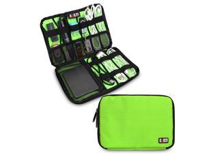 BUBM Large Green Electronics Accessories Carry On Bag / Cable Organizer / USB Drive Shuttle / Hard Drive Case