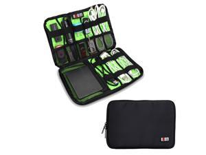 BUBM Large Black Electronics Accessories Carry On Bag / Cable Organizer / USB Drive Shuttle / Hard Drive Case