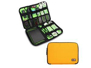 BUBM Large Yellow Electronics Accessories Carry On Bag / Cable Organizer / USB Drive Shuttle / Hard Drive Case