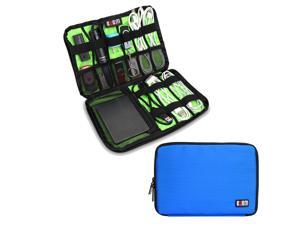 BUBM Large Blue Electronics Accessories Carry On Bag / Cable Organizer / USB Drive Shuttle / Hard Drive Case