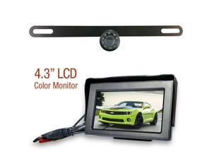 """Backup License Plate WIRED Bracket Camera with 4.3"""" LCD"""