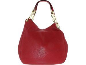 Michael Kors Women's Large Fulton Shoulder Tote Leather Top-Handle Hobo - Cherry