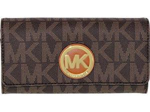 Michael Kors Women's Logo Charm Leather Wallet Baguette - Brown