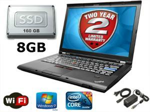 "Lenovo ThinkPad T420 - I5-2520 2.5GHz - 8GB RAM - 160gb SSD - Webcam - DVD - 14"" - Win 7 Pro - 2 YEAR WARRANTY"