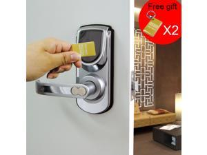 Digi Electronic 3 in 1 Keyless Smart Security Electronic Touch screen Keypad Door Lock Latch or Deadbolt Reversible Lever Handle Home Use Entry 6600-101 Silver
