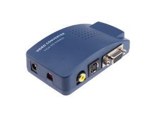 Hongta® High Resolution Video VGA Conversion VGA to RCA Composite/S-Video Converter Box VGA to AV Converter Color Blue