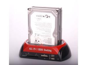 """Lotous® Dual HDD Docking Station for 2.5""""/3.5"""" HDD SATA/IDE And card reader Two USB HUB HDD Docking with in 2 SATA"""