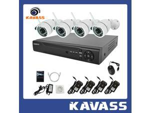 KAVASS Wifi System 1TB HDD 4 Channel NVR System HDMI with 4 Indoor Outdoor 720P HD Night Vision Wireless Security CCTV IP Cameras