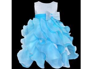 Kids Girls Bow Flower Tulle Formal Dress Wedding Bridesmaid Party Christening Dress