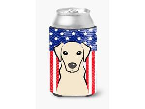 American Flag and Yellow Labrador Can or Bottle Hugger BB2152CC