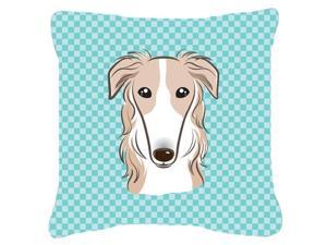 Checkerboard Blue Borzoi Canvas Fabric Decorative Pillow BB1166PW1414