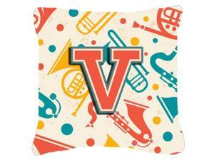 Letter V Retro Teal Orange Musical Instruments Initial Canvas Fabric Decorative Pillow CJ2001-VPW1818