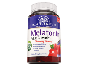 Quality Nature - Melatonin Adult Gummies - Sleep Formula  - ALL Natural Halal & Parve Certified - Gluten Free -  60 Yummy Gummies!
