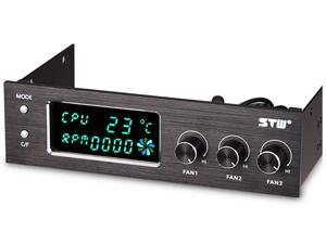 STW 5.25- Inch Aluminum Multi-Function Fan Controller Panel Cooling with 3 channels