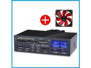 "STW Computer Case 5.25"" Media Multi-functional Dashboard All in One Card Reader Device USB3.0 Hub with PC Card Reader Fan Controller"