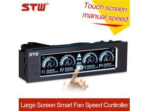 STW Pc Accessories 5.25-inch Touch Screen 4 Channel Cpu Fan Speed Controller Cooling Fan