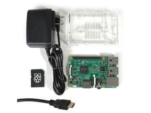 MakerBrightTM Raspberry Pi 3 Model B Select Kit w/Raspberry Pi 3, Clear Case, 5.25V 2.4A PSU, 8GB NOOBS MicroSD, 6' HDMI 1.4 Cable