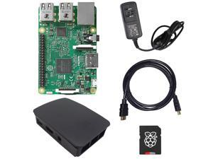 MakerBright™ Raspberry Pi 3 Deluxe Kit w/Raspberry Pi 3, Official Raspberry Pi Case (Black), 5.25v 2.4A PSU, 8GB NOOBS SanDisk Class 10 MicroSD, 6' HDMI 1.4 Cable