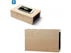 Wooden Environmental Multi-function Qi Wireless Charger + Bluetooth Wireless Stereo Home Speaker + Alarm Clock LED Time and Date + Temperature Display for Home/office, Smart Phones, Mp3 Players, Table