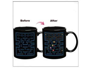 New Fantastic Water Coffee Hot Cold Heat Color Changing Pac Man Ceramic Mug Cup with Color gift Box