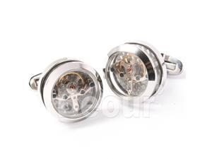 Three Color Option Stainless Steel Transparent Tourbillon Cufflinks with One Brown Box(Black, Blue, Silver)