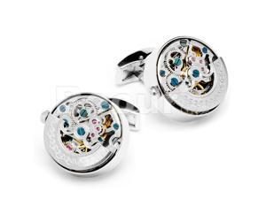 Stainless Steel Silver Kinetic Watch Movement Cufflinks with One Brown Cufflinks Box