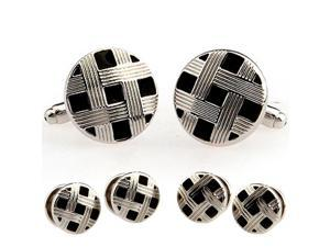 Fashion Black and Silver Paint Round Cufflinks Tuxedo Stud Sets