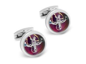 "Vintage Steampunk Silver Round and Gold Movement Watch Functional Mechanical Cufflinks (Width: 0.79"" Length: 0.79"")"