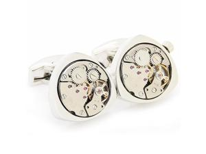 "Rotating Movement Steampunk Silver Triangle Clockwork Watch Movement Cufflinks (Width: 0.79"" Length: 0.79"")"