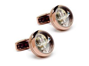 """Steampunk Gold Round and Silver Movement Men's Functional Mechanical Cufflinks (Width: 0.79"""" Length: 0.79"""")"""