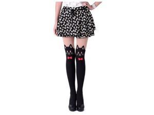 Japanese Sexy CAT Mock with TAIL TIGHTS Pantyhose(Red Bow)