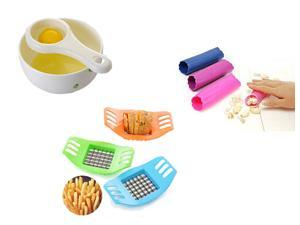 Kitchen Tool 3 in 1 - Kitchen Helper Convenient Garlic Peeler Tool & Egg Yolk and Egg White Separator & Potato Vertical Cutter Slicer (Random Color)