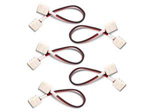 5pcs Pack 8mm 2-conductor Quick Splitter LED Strip Connector for Single Color LED Strip Lights, Strip to Strip