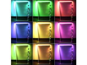 RGB LED Glass Edge Lighting Kit: 4pcs RGB LED Glass Shelf Lights + RGB Controller + IR Remote + Power Adapter for Glass Shelf, Glass Cabinet, Countertop, Liquor Shelf, Book Shelf Decorative Lighting