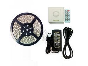 Warm White Waterproof Flexible LED Strip Light Kit - 16.4ft 300LEDs 5050 SMD LED Light Strip + Wall Dimmer + 12V Power Adapter