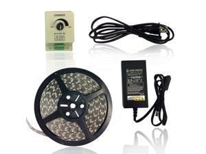 Super Value LED Strip Light Kit - Kit Includes: 16.4ft (5m) Waterproof Flexible Warm White LED Strip Lights (300LEDs 5050 IP-65) + PWM LED Dimmer + 12V 6A Power Adapter