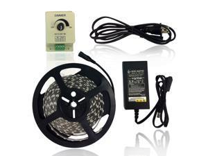 Super Value LED Strip Light Kit - Kit Includes: 16.4ft (5m) Flexible Pure White LED Strip Lights (300LEDs 5050 IP-44) + PWM LED Dimmer + 12V 6A Power Adapter
