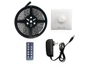 Daylight Waterproof Flexible LED Light Strip Kit - 16.4ft (5m) 300LEDs 3528 SMD LED Strip Lights + LED Wall Dimmer Set + Power Supply