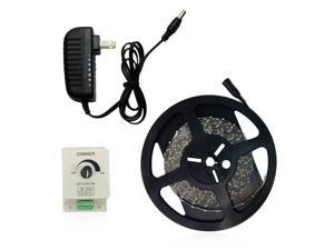 Warm White Flexible LED Light Strip Kit - 16.4ft 300LEDs 3528 SMD LED Strip Lights + PWM LED Dimmer + Power Supply