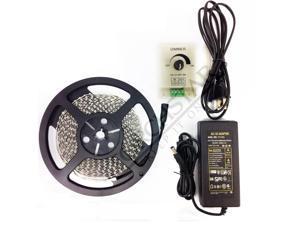 WARM WHITE Flexible LED Light Strip Kit - 16.4ft 600LEDs 3528 SMD LED Strip Lights + PWM LED Dimmer + Power Supply