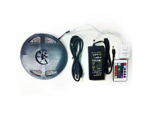 RGB LED Strip Light Kit - Kit Includes: 16.4ft (5m) Waterproof Flexible RGB LED Strip Lights (150LEDs 5050) + 24-key IR Remote Controller + 12V Power Adapter