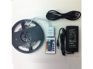 RGB LED Strip Light Kit - Kit Includes: 16.4ft (5m) Flexible RGB LED Strip Lights (300LEDs IP-44) + 24-key IR Remote Controller + 12V Power Adapter