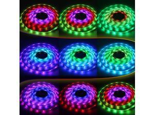 High Waterproof (IP=68) RGB Color Chasing LED Light Strip Kit: 16.4ft (5m) Flexible Multicolor Chasing LED Strip Lights + RGB Controller + 24-key IR Remote + UL-listed Power Adapter - 5050SMD 150LEDs/