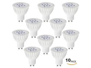 Lot of 10 110V 7W GU10 LED Bulb - 5000K Daylight LED Spotlight - 60W Equivalent GU10 Base - 500 Lumen 36 Degree Beam Angle for Home, Recessed, Accent, Track Lighting