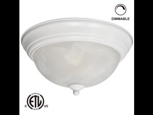 12W 11-inch Dimmable LED Flush Mount Ceiling Light - 50W Equivalent 3000K Warm White LED Ceiling Light Fixtures - 800lm ETL-listed LED Surface Mount Lighting Fixtures (White)